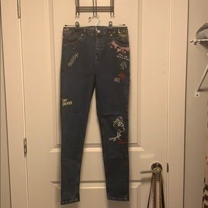 TopShop Embroidered Jeans